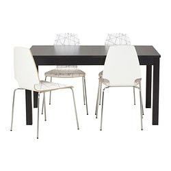 BJURSTA/VILMAR table and 4 chairs, striped black, brown-black