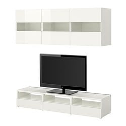 BESTÅ TV storage combination, high-gloss white, white Width: 180 cm Depth: 40 cm Height: 32 cm