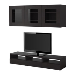 BESTÅ TV storage combination, black-brown Width: 180 cm Depth: 40 cm Height: 32 cm