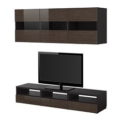 "BESTÅ TV storage combination, high-gloss/brown, black-brown bamboo pattern Width: 70 7/8 "" Depth: 15 3/4 "" Height: 12 5/8 "" Width: 180 cm Depth: 40 cm Height: 32 cm"