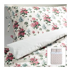 "EMMIE SÖT duvet cover and pillowcase(s), multicolor Duvet cover length: 86 "" Duvet cover width: 86 "" Pillowcase length: 20 "" Duvet cover length: 218 cm Duvet cover width: 218 cm Pillowcase length: 51 cm"