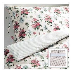 "EMMIE SÖT duvet cover and pillowcase(s), multicolor Duvet cover length: 86 "" Duvet cover width: 102 "" Pillowcase length: 20 "" Duvet cover length: 218 cm Duvet cover width: 259 cm Pillowcase length: 51 cm"