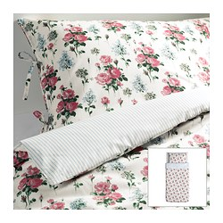 "EMMIE SÖT duvet cover and pillowcase(s), multicolor Duvet cover length: 86 "" Duvet cover width: 64 "" Pillowcase length: 20 "" Duvet cover length: 218 cm Duvet cover width: 162 cm Pillowcase length: 51 cm"