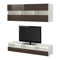 BESTÅ TV storage combination, high-gloss/brown, white bamboo pattern Width: 180 cm Depth: 40 cm Height: 32 cm