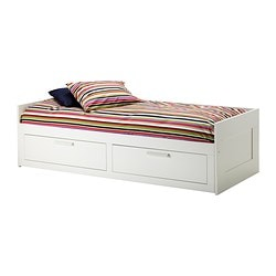 "BRIMNES daybed frame with 2 drawers, white Length: 76 3/4 "" Width: 40 1/2 "" Depth of drawer: 21 5/8 "" Length: 195 cm Width: 103 cm Depth of drawer: 55 cm"