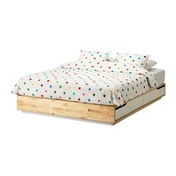 MANDAL bed frame with storage, white, birch Length: 202 cm Width: 160 cm Height: 27 cm