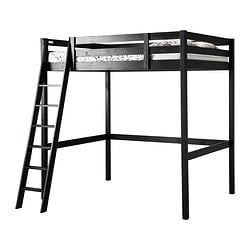 "STORÅ loft bed frame, black Length: 79 7/8 "" Distance from floor to bed base: 65 3/4 "" Width: 58 1/4 "" Length: 203 cm Distance from floor to bed base: 167 cm Width: 148 cm"