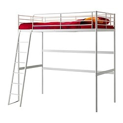 "TROMSÖ loft bed frame, white Length: 78 "" Distance from floor to bed base: 64 5/8 "" Width: 40 1/2 "" Length: 198 cm Distance from floor to bed base: 164 cm Width: 103 cm"