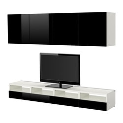 BESTÅ TV storage combination, high-gloss black, white Width: 240 cm Depth: 40 cm Min. height: 32 cm
