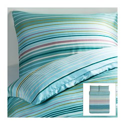 "PALMLILJA duvet cover and pillowcase(s), turquoise Duvet cover length: 86 "" Duvet cover width: 86 "" Pillowcase length: 20 "" Duvet cover length: 218 cm Duvet cover width: 218 cm Pillowcase length: 51 cm"