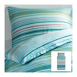 "PALMLILJA duvet cover and pillowcase(s), turquoise Duvet cover length: 86 "" Duvet cover width: 64 "" Pillowcase length: 20 "" Duvet cover length: 218 cm Duvet cover width: 162 cm Pillowcase length: 51 cm"