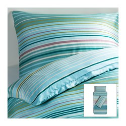 PALMLILJA quilt cover and 2 pillowcases, turquoise Quilt cover length: 200 cm Quilt cover width: 150 cm Pillowcase length: 50 cm