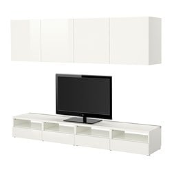 BESTÅ TV storage combination, high-gloss white, white Width: 240 cm Depth: 40 cm Min. height: 32 cm