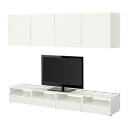 BESTÅ TV storage combination, white Width: 240 cm Depth: 40 cm Min. height: 32 cm