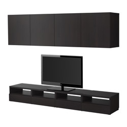 BESTÅ TV storage combination, black-brown Width: 240 cm Depth: 40 cm Min. height: 32 cm