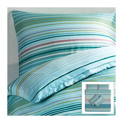 PALMLILJA quilt cover and 4 pillowcases, turquoise Quilt cover length: 220 cm Quilt cover width: 240 cm Pillowcase length: 50 cm