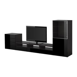 BESTÅ TV storage combination, black, black-brown Width: 300 cm Depth: 40 cm Height: 128 cm