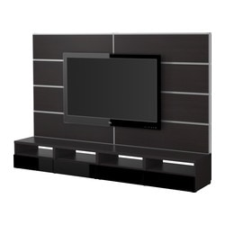 BESTÅ/FRAMSTÅ TV storage combination, high-gloss black black, black-brown Width: 240 cm Max. depth: 40 cm Height: 160 cm