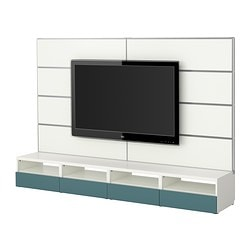 BESTÅ/FRAMSTÅ TV storage combination, grey-turquoise, white Width: 240 cm Max. depth: 40 cm Height: 160 cm