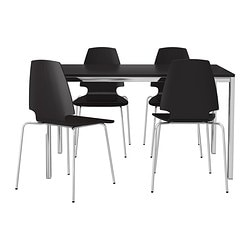 TORSBY/VILMAR table and 4 chairs, brown-black, chrome plated
