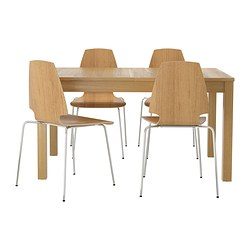 BJURSTA /  VILMAR table and 4 chairs, chrome-plated, oak veneer Length: 180 cm Min. length: 140 cm Max. length: 220 cm