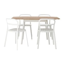 IKEA PS 2012 /  REIDAR table and 4 chairs, white, bamboo Length: 106 cm Min. length: 74 cm Max. length: 138 cm
