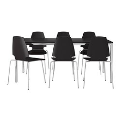 TORSBY/VILMAR table and 6 chairs, brown-black, chrome plated