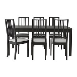 BJURSTA /  BÖRJE table and 6 chairs, Gobo white, brown-black Length: 218 cm Min. length: 175 cm Max. length: 260 cm