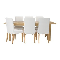 BJURSTA /  HENRIKSDAL table and 6 chairs, Gobo white, oak veneer Length: 218 cm Max. length: 260 cm Width: 95 cm