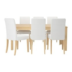 BJURSTA /  HENRIKSDAL table and 6 chairs, Gobo white, birch veneer Length: 218 cm Min. length: 175 cm Max. length: 260 cm