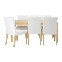 "BJURSTA /  HENRIKSDAL table and 6 chairs, Gobo white, birch veneer Length: 85 7/8 "" Min. length: 68 7/8 "" Max. length: 102 3/8 "" Length: 218 cm Min. length: 175 cm Max. length: 260 cm"