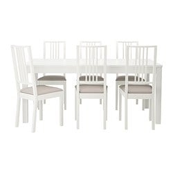 BJURSTA/BÖRJE table and 6 chairs, Kungsvik sand, white