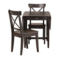 INGATORP /  INGOLF table and 2 chairs, black-brown Min. length: 59 cm Max. length: 117 cm Width: 78 cm