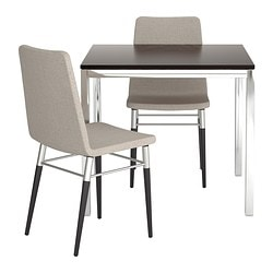TORSBY/PREBEN table and 2 chairs, Tenö light grey, brown-black