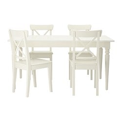 "INGATORP /  INGOLF table and 4 chairs, white Length: 61 "" Max. length: 84 5/8 "" Width: 34 1/4 "" Length: 155 cm Max. length: 215 cm Width: 87 cm"