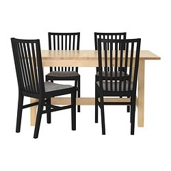 NORDEN/NORRNÄS table and 4 chairs, Isunda grey, birch black