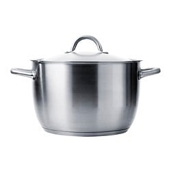 IKEA 365+ stockpot with lid, stainless steel Diameter: 30 cm Height: 19 cm Volume: 10 l