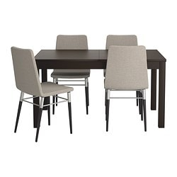 BJURSTA / PREBEN, Table and 4 chairs, brown-black, Tenö light grey