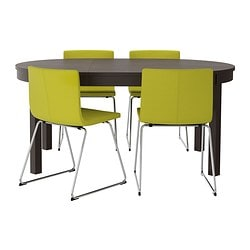 BJURSTA/ BERNHARD table and 4 chairs, Kavat green-yellow, brown-black