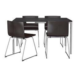 TORSBY/ BERNHARD table and 4 chairs, Kavat dark brown, brown-black