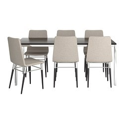 TORSBY/PREBEN table and 6 chairs, Tenö light gray, brown-black