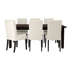 STORNÄS /  HENRIKSDAL table and 6 chairs, Linneryd natural, brown-black Min. length: 201 cm Max. length: 293 cm Width: 105 cm