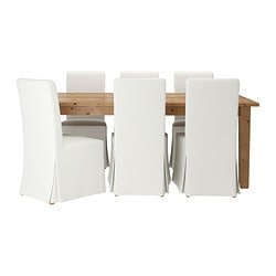 STORNÄS /  HENRIKSDAL table and 6 chairs, Blekinge white, antique stain Min. length: 201 cm Max. length: 293 cm Width: 105 cm