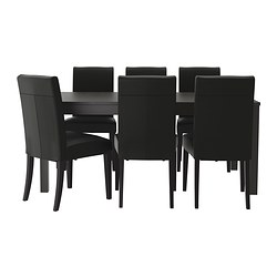 BJURSTA /  HENRIKSDAL table and 6 chairs, Glose black, brown-black Length: 218 cm Max. length: 260 cm Width: 95 cm