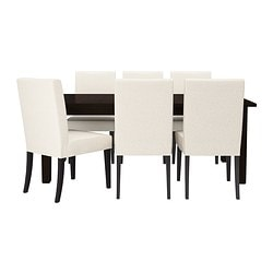 STORNÄS/ HENRIKSDAL table and 6 chairs, Linneryd natural, brown-black