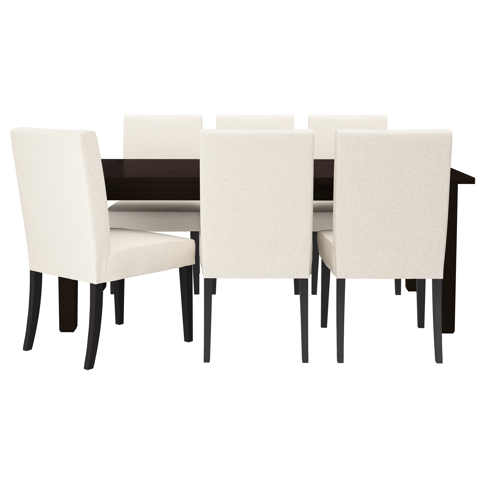STORNÄS / HENRIKSDAL Table And 6 Chairs, Brown Black, Linneryd Natural  Length: