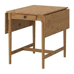 INGATORP drop-leaf table, antique stain Length: 88 cm Min. length: 59 cm Max. length: 117 cm