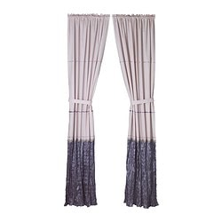 BLOMVIVEL curtain with tie-back, pink Length: 250 cm Width: 120 cm