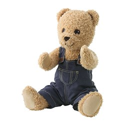 "BRUMMA soft toy with clothes, bear Length: 18 "" Length: 46 cm"
