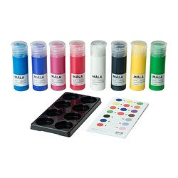 MÅLA paint, assorted colours Volume: 400 ml Package quantity: 8 pieces
